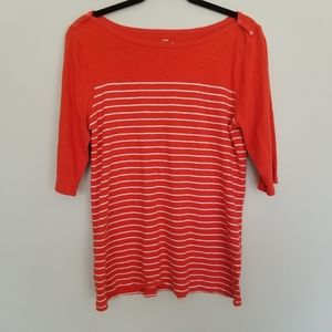 J. Crew painter t in orange & white stripes XL